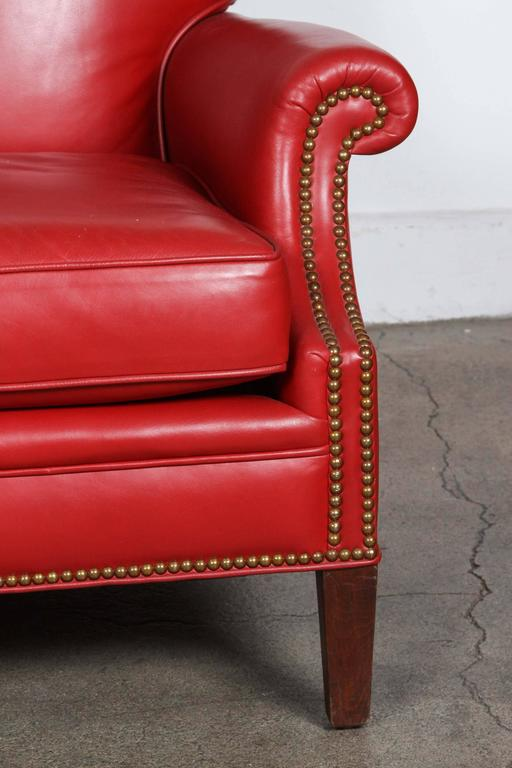 Pair of Red French Club Leather Lounge Armchairs For Sale 4