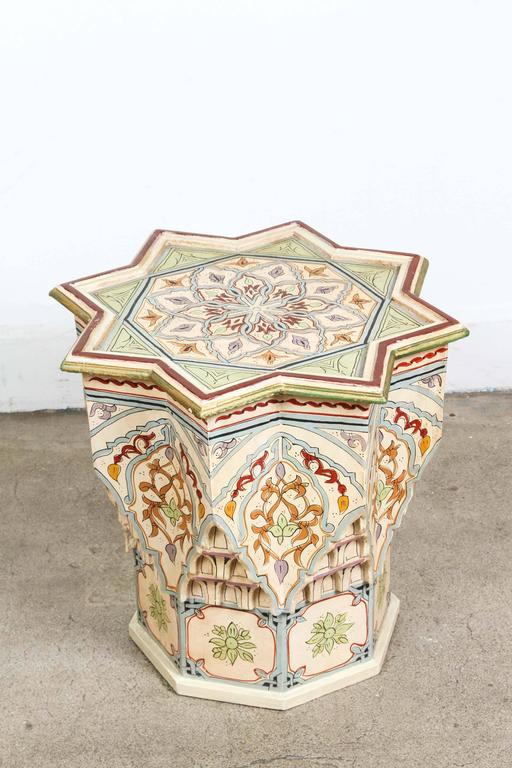 Vintage moroccan hand painted side table ivory color at for Moroccan hand painted furniture