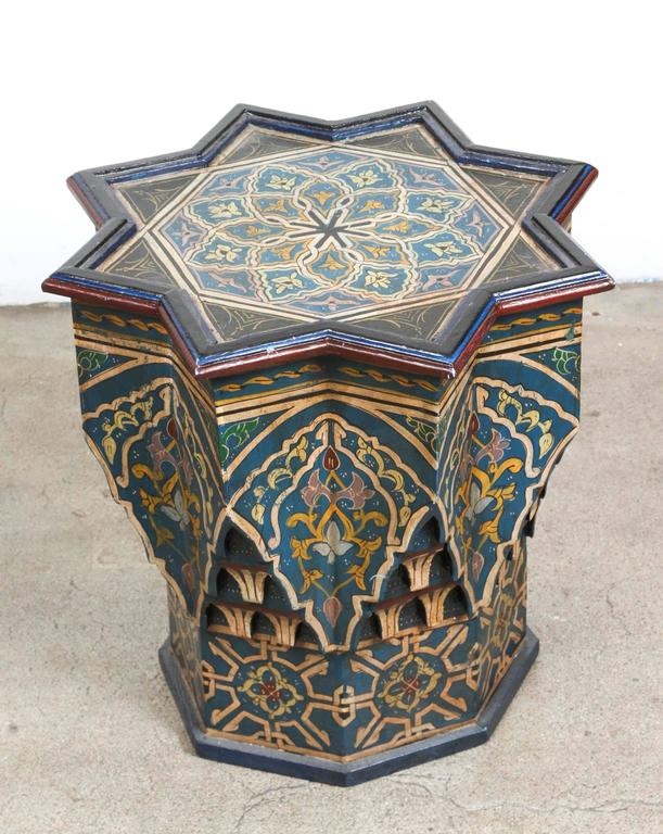 Moroccan hand painted side table blue color at 1stdibs for Moroccan hand painted furniture