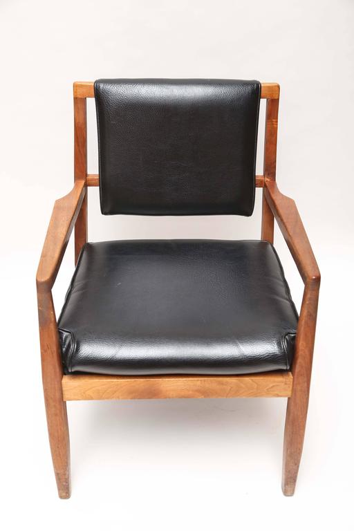 Pair of original condition teak armchairs in as found shape. Very sturdy.