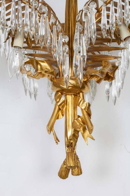 Louis XVI Style Gilt Bronze Palm Leaf Chandelier 5