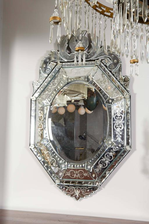 Late 20th Century Venetian Etched Glass Mirror For Sale