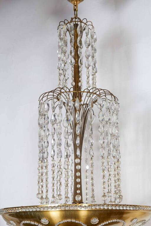 Beaded and Decorated Gilt-Brass Chandelier  3