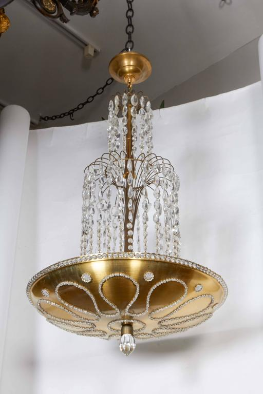 Beaded and Decorated Gilt-Brass Chandelier  4