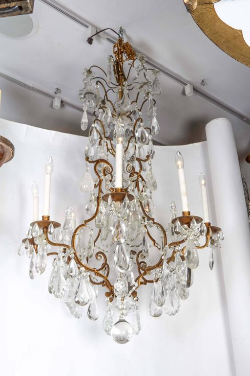 Impressive Louis XV Style Gilt Bronze and Rock Crystal Chandelier 2