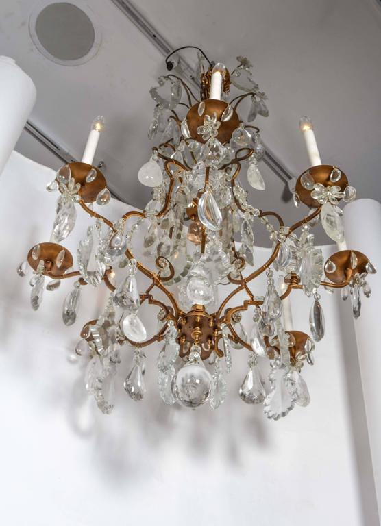 Impressive Louis XV Style Gilt Bronze and Rock Crystal Chandelier 8
