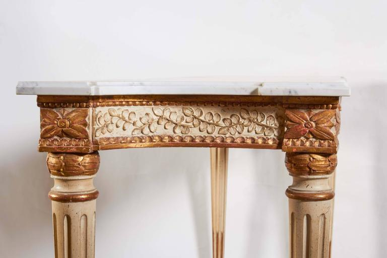 Italian Parcel-Gilt and White Painted Console Table 7