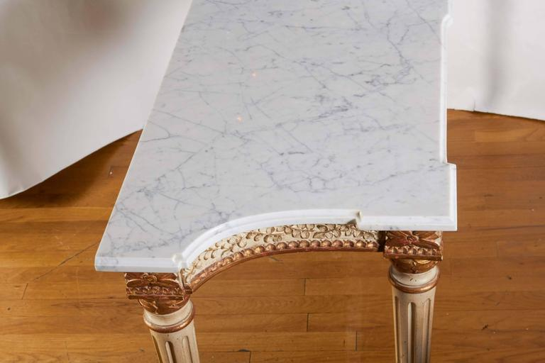 Italian Parcel-Gilt and White Painted Console Table 9