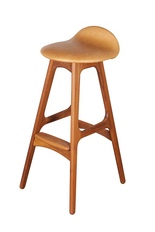 Leather Teak Counter Stool by Erik Buch, Set of 3 2