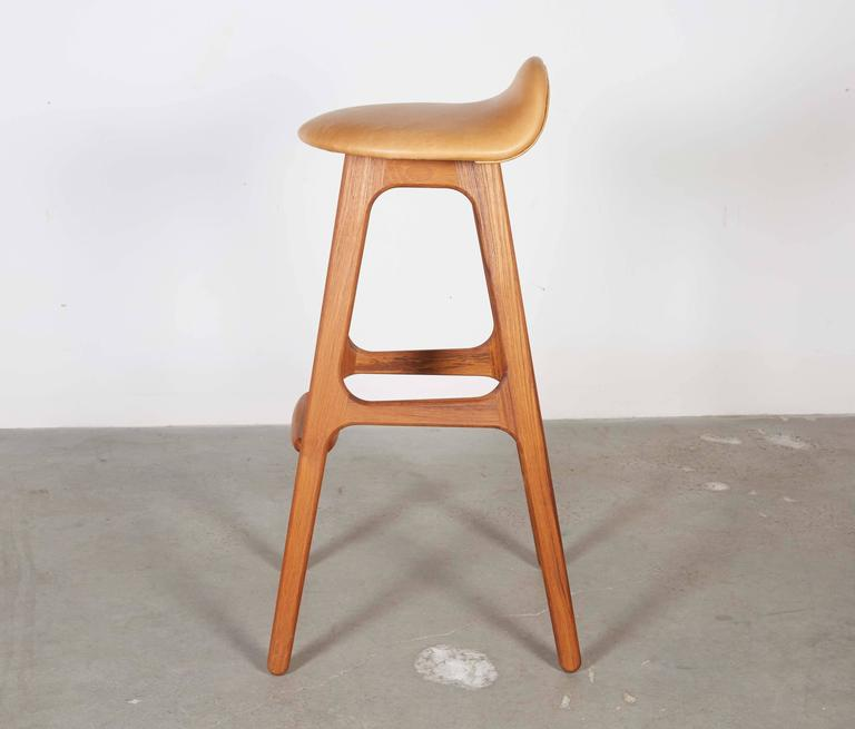 Leather Teak Counter Stool by Erik Buch, Set of 3 4