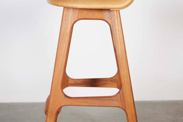 Leather Teak Counter Stool by Erik Buch, Set of 3 5