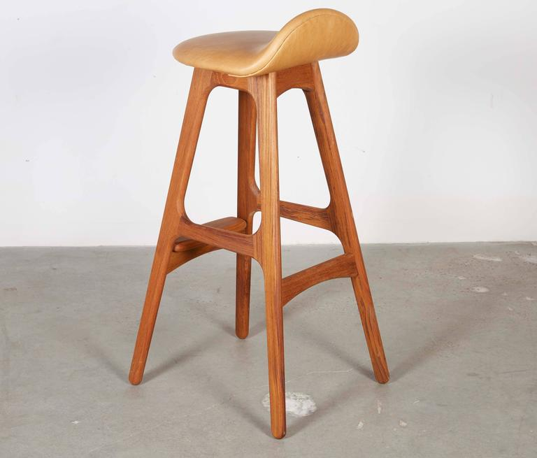 Leather Teak Counter Stool by Erik Buch, Set of 3 6
