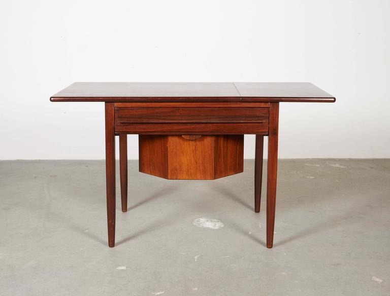 Mid Century Sewing Table with Drop Leaf 4