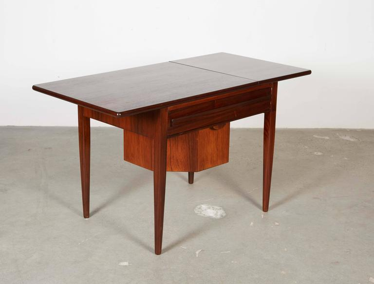 Mid Century Sewing Table with Drop Leaf 6