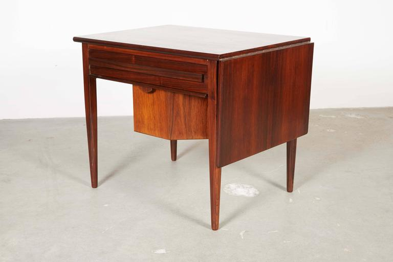 Mid Century Sewing Table with Drop Leaf 8