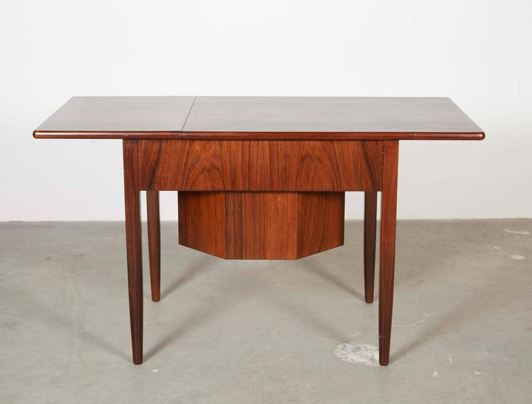 Mid Century Sewing Table with Drop Leaf 9