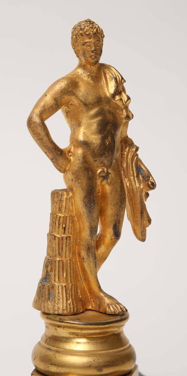 Gilt Bronze Statuette of the Belvedere Antinous, Italian, 19th Century In Excellent Condition For Sale In Kensington, MD