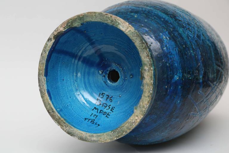 Pottery Large Aldo Londi Rimini Blue Brutalist Vase by Bitossi, Italy, 1960s For Sale