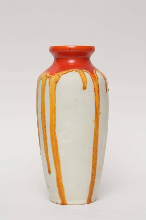 Ceramique de Bruxelles Art Deco Orange and Yellow Drip Vase, Belgium, circa 1920 3