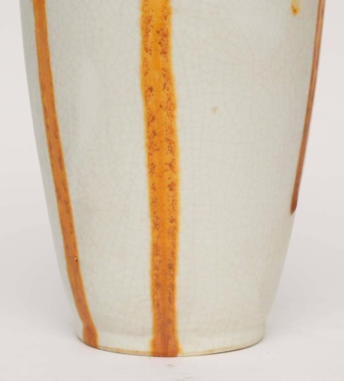 Ceramique de Bruxelles Art Deco Orange and Yellow Drip Vase, Belgium, circa 1920 5