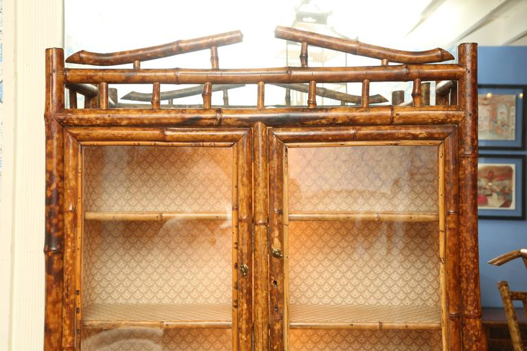 Superb 19th Century English Bamboo Secretary Bookcase In Excellent Condition In West Palm Beach, FL