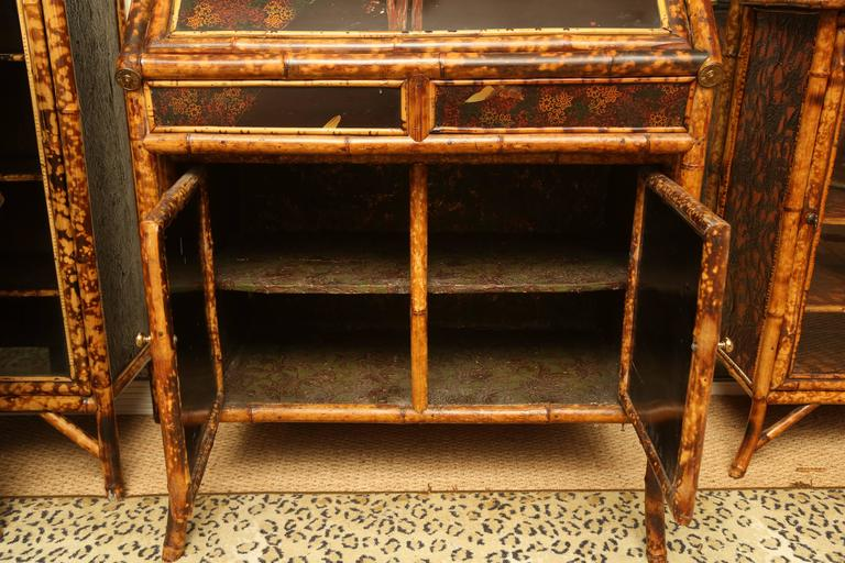 Superb 19th Century English Bamboo Secretary Bookcase 1