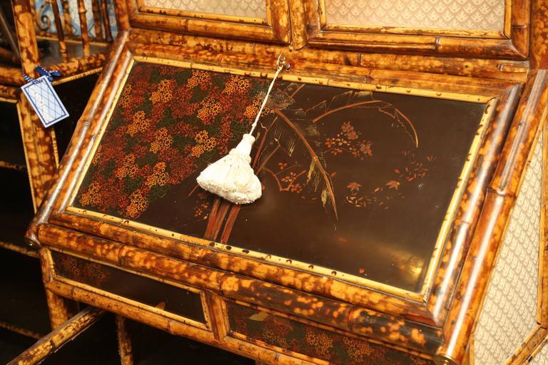 Superb 19th Century English Bamboo Secretary Bookcase 2