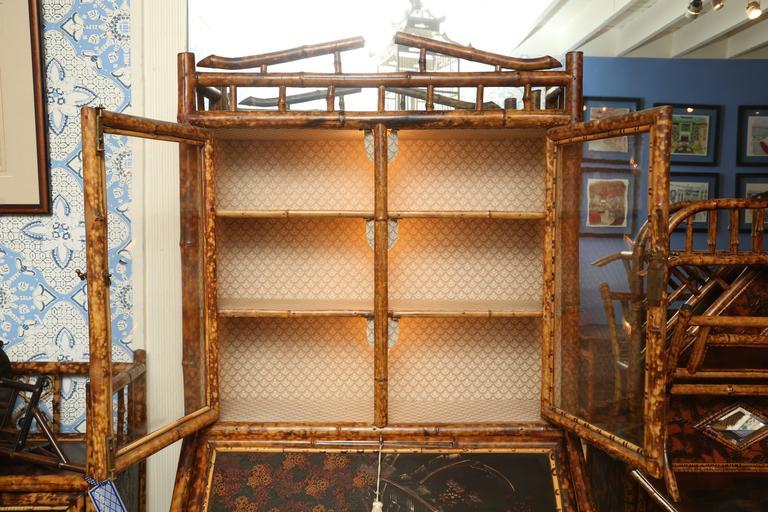 Superb 19th Century English Bamboo Secretary Bookcase 3
