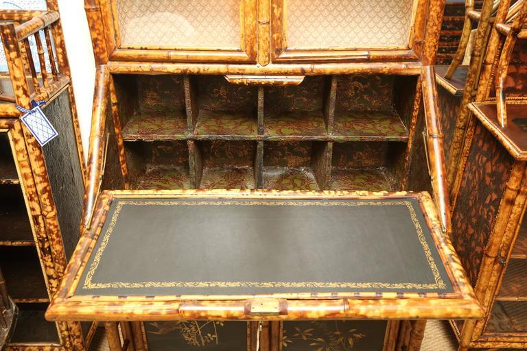 Superb 19th Century English Bamboo Secretary Bookcase 6