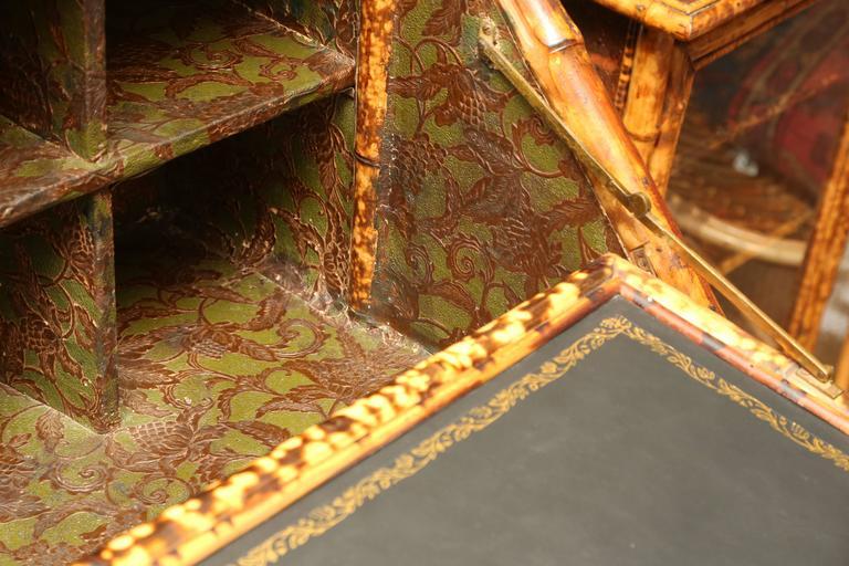Superb 19th Century English Bamboo Secretary Bookcase 7