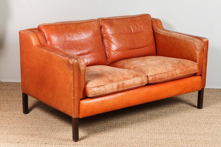 Mid Century Modern Børge Mogensen Mid Century Leather Loveseat, Burnt Orange  Leather For