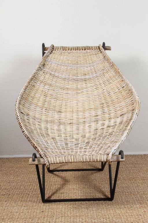Mid-Century Modern John Risley Rattan Dunyan Lounge Chair For Sale