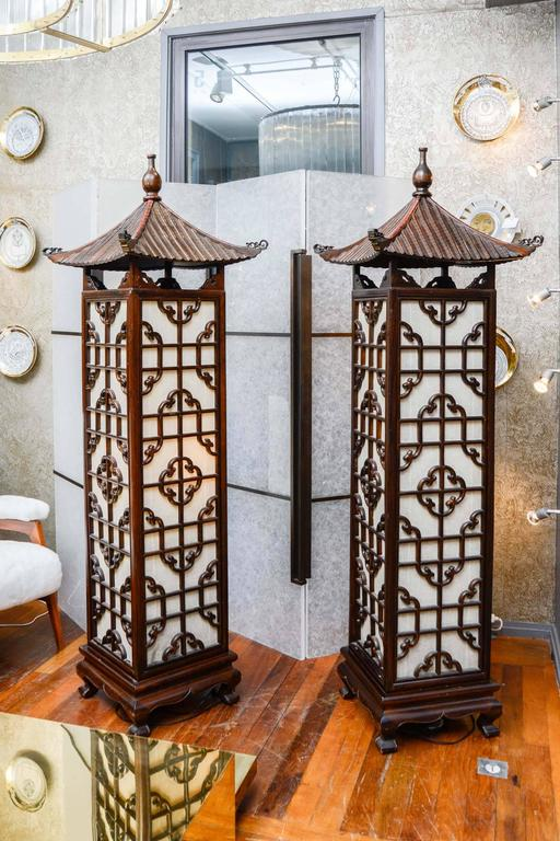 Pair Of Chinese Style Floor Lamps At 1stdibs