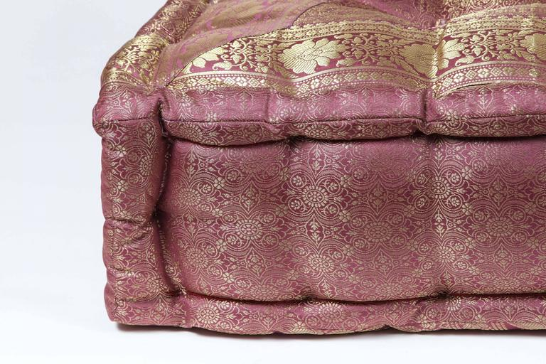 Oversized Square Floor Pillows : Oversized Silk Square Mauve and Gold Tufted Floor Yoga Pillow For Sale at 1stdibs