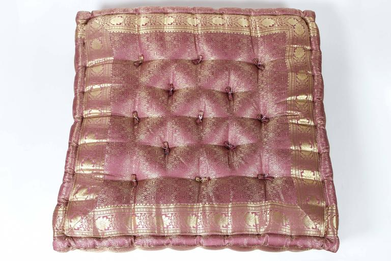 Square Tufted Floor Pillows : Oversized Silk Square Mauve and Gold Tufted Floor Yoga Pillow For Sale at 1stdibs