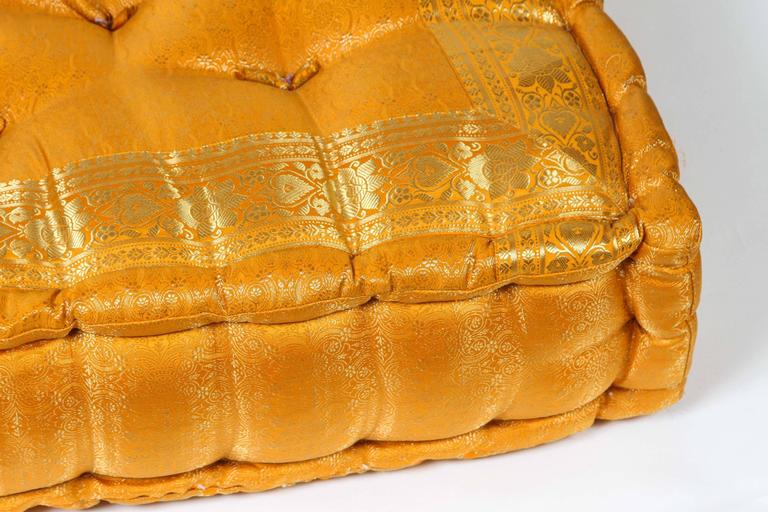 Oversized Yellow and Gold Tufted Floor Yoga Pillow For Sale at 1stdibs