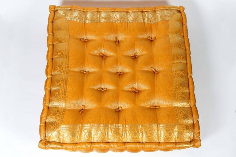 Large Moroccan Tufted Floor Pillows : Oversized Yellow and Gold Tufted Floor Yoga Pillow For Sale at 1stdibs