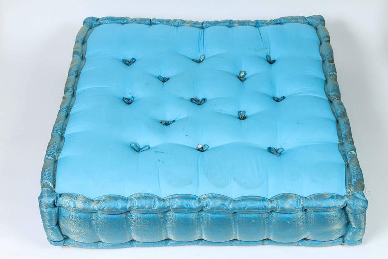 Large Moroccan Tufted Floor Pillows : Oversized Turquoise Tufted Floor Yoga Pillow For Sale at 1stdibs