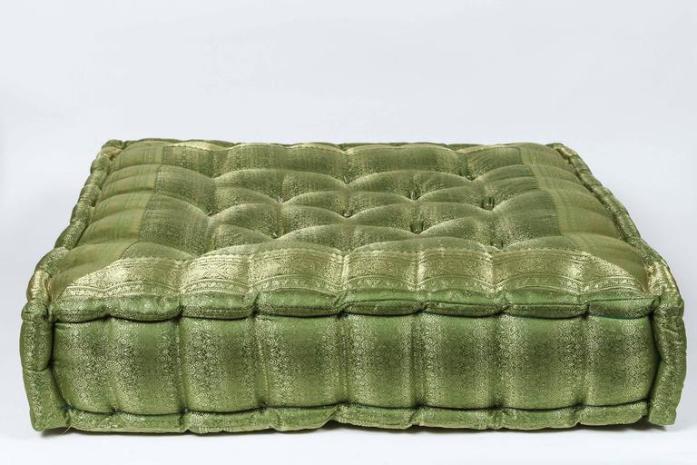 Oversized Silk Square Green Tufted Floor Yoga Pillow For Sale at 1stdibs