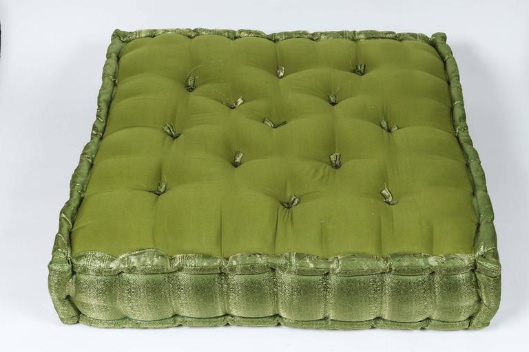 Square Tufted Floor Pillows : Oversized Silk Square Green Tufted Floor Yoga Pillow For Sale at 1stdibs