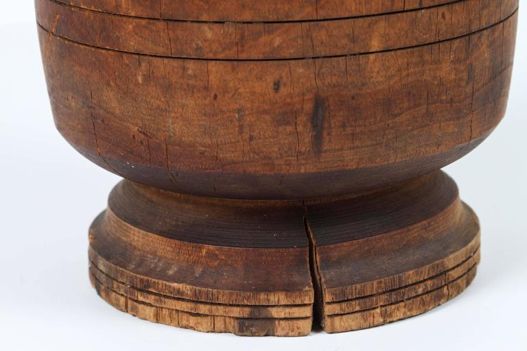 Hand-Carved Wooden African Mortar and Pestle For Sale