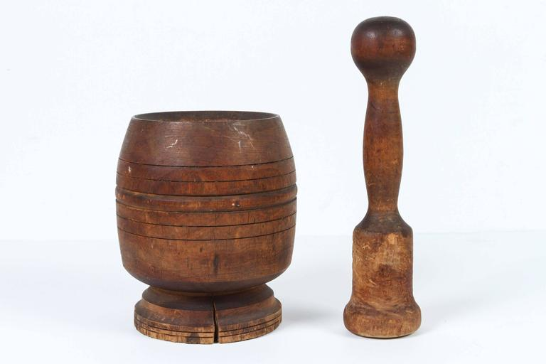 20th Century Wooden African Mortar and Pestle For Sale