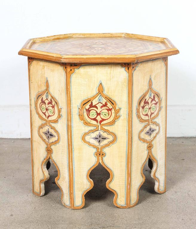 Moroccan ivory hand painted side table with moorish design for Moroccan hand painted furniture