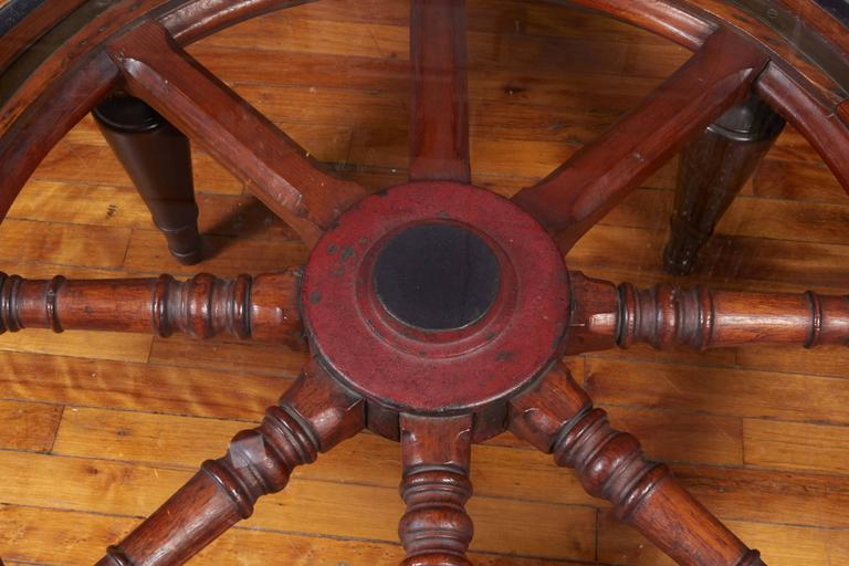Antique Ship S Wheel As Coffee Table With Glass Top At 1stdibs