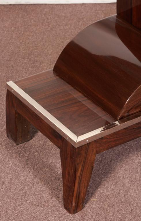 20th Century Pair of French Art Deco Elegant Rosewood Consoles with Nickeled Trim For Sale