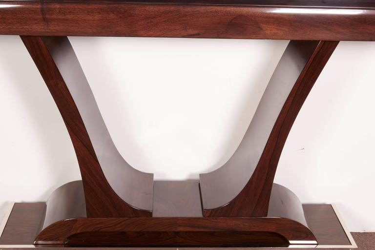 Mahogany Pair of French Art Deco Elegant Rosewood Consoles with Nickeled Trim For Sale