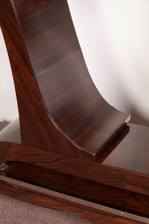 Pair of French Art Deco Elegant Rosewood Consoles with Nickeled Trim For Sale 2