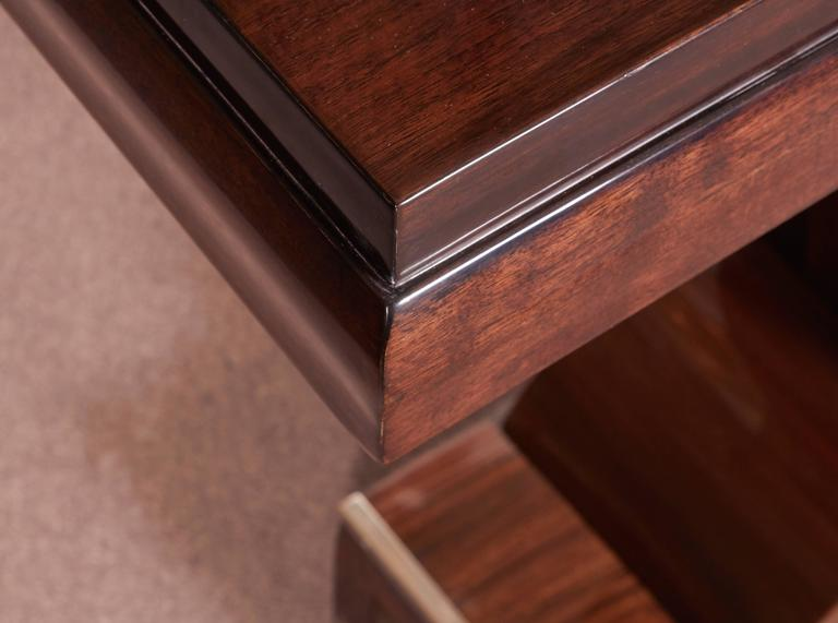 Pair of French Art Deco Elegant Rosewood Consoles with Nickeled Trim For Sale 4
