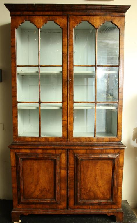English Queen Anne Walnut Bookcase With Mullion Glazed Doors Above A Solid  Two Door Cabinet