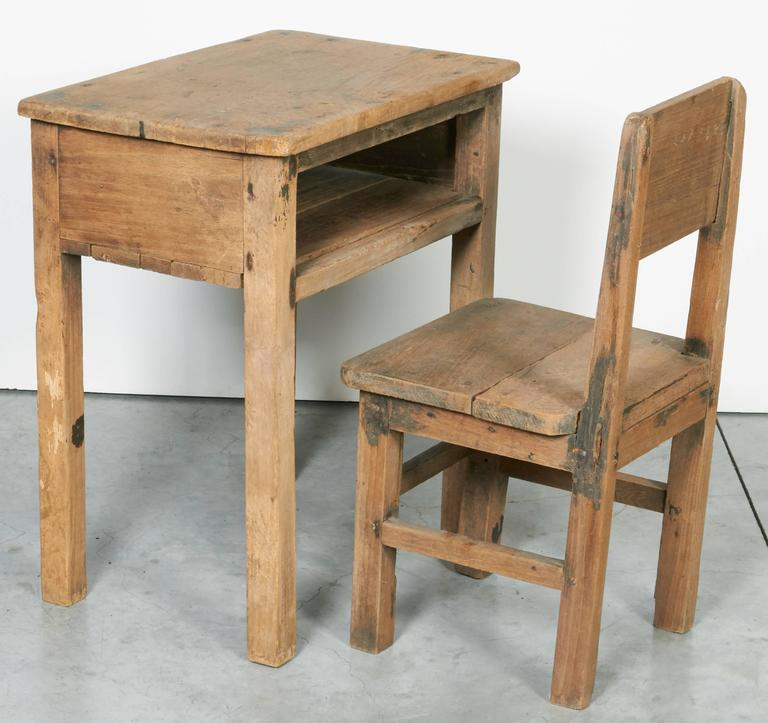 20th Century Vintage Child S School Desk And Chair For